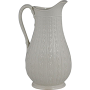 Attractive 19th Century English Relief Moulded Pottery Jug