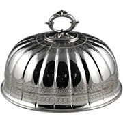 Handsome English Sheffield Antique Silver Plate Platter Dome by Thomas Bradbury & Sons