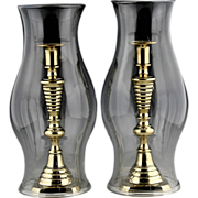 SOLD Fine Pair of 19th Century Hand Blown Colorless Glass Hurricane Shades