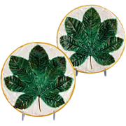 Superb Pair of 19th Century George Jones Majolica Plate Chestnut Leaf
