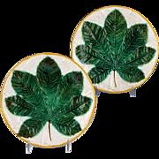 Superb Pair of 19th Century George Jones Majolica Plate Chestnut Leaf