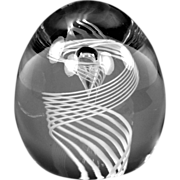 Signed Steuben Glass Paperweight with Latticino Swirl and Air Trap Teardrop Shape 8029