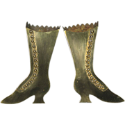 Pair of 19th Century Brass Wall Mounted Button Boot Form Spill Holders