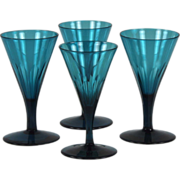 Superb Set of Four Late Georgian Hand Blown Peacock Blue Wine Glasses