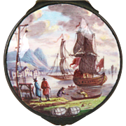 Fine Late Georgian Hand Painted Battersea Bilston Staffordshire Enamel Snuff Box with Nautical