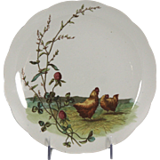 Charming Circa 1885 Brown, Westhead, Moore & Co. Porcelain Plate with Chicken Motif