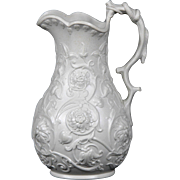 Wonderful Circa 1860 English Relief Moulded Molded Jug in Vining Flower and Bud Pattern