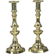 Fine Pair of Circa 1830 English Brass Push Up Candlesticks
