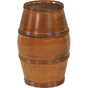 Lovely 19th Century English Fruitwood Barrel Form Container