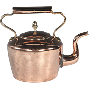 Large 19th Century English Copper Goose Neck Kettle with Dovetailed Seams