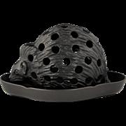 Desirable Wedgwood Black Basalt Figural Hedgehog Crocus Pot and Tray