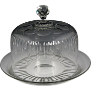 Wonderful 19th Century French Hand Blown and Cut Colorless Glass Cheese Dish and Dome