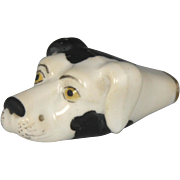 Delightful Late Georgian Figural Hound's Head Porcelain Hunting Whistle