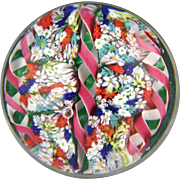 Colorful Vintage Ribbon and Millefiori Paperweight