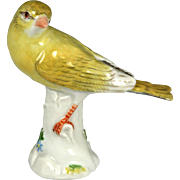 Exquisite 19th Century Meissen Hand-Painted Porcelain Canary with Turned Head