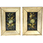 Lovely Pair of Mid Victorian Framed Florals Hand Painted on Slate Signed and Dated