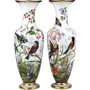 Stunning Pair of Circa 1845 Baccarat White Opal Crystal Vases Hand Painted with Birds and ...