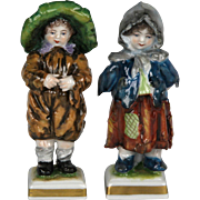 Charming Pair of Circa 1910 Porcelain Street Urchins by Volkstedt Porcelain Factory Germany