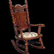 Antique Victorian Cutout Carved Oak Press Back Rocker