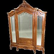 16138 Antique French Victorian Three-door Wardrobe