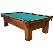 REDUCED Antique Brunswick Quarter Sawn Oak Inlaid Pool Table