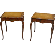 Pair of French Provincial Leather Top End Tables