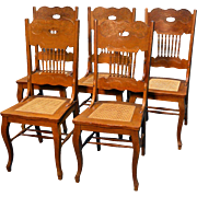 Antique Victorian Set of Five Oak Dining Chairs