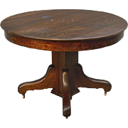 Antique Round Oak Dining Table with Split Base