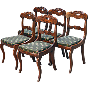 Antique Set of 5 Flame Mahogany Period Empire Dining Chairs
