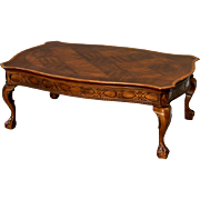 Mahogany Chippendale Ball and Claw Inlaid Coffee Table
