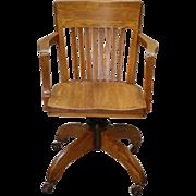 Vintage Oak Lawyers Office Desk Chair