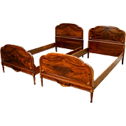 Vintage Pair of French Style Burl Walnut Twin Beds