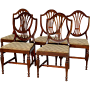 REDUCED Vintage Set of 5 Five Sheraton Formal Mahogany Dining Room Kitchen Chairs