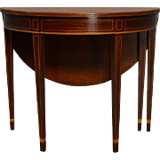 REDUCED Antique Mahogany Demi Lune Game Table by Kittinger