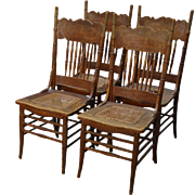 Antique Set of 4 Oak Victorian Pressback Dining Chairs