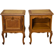 REDUCED Pair of French Oak Raised Panel Carved Nightstands - Unusual
