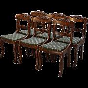 Set of 6 Period Flame Mahogany Civil War Era Empire Dining Chairs