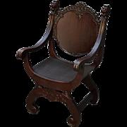 Antique Mahogany Lion face Barrel Seat Arm Chair