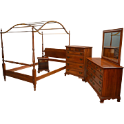 Vintage Cherry Solid Chippendale Bedroom Set by Jamestown Sterling Corp.