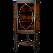 Vintage Hand Paint Decorated Walnut Corner China Cabinet – 1930s