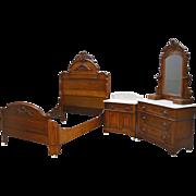 Antique 3 Three Piece Victorian Marble Top Bedroom Set