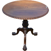 REDUCED Centennial Solid Mahogany Inlaid Ball and Claw Chippendale Tilt Top Table