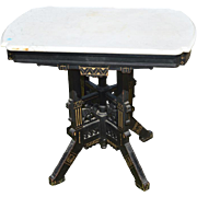 Antique Eastlake Carved Marble Top Stand