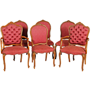 Set of 6 French Victorian Style Dining Chairs - Twin Arms!