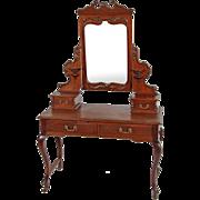 Mahogany Victorian Carved Bevel Glass Ladies Vanity