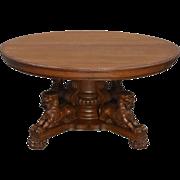 Antique Victorian Carved Full Lion Body Oak Banquet Table 1890s Horner!