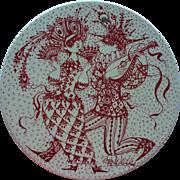 Vintage Bjorn Wiinblad Denmark Nymolle Ceramic Wall Plaque Februar Maskerade Signed