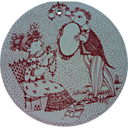 Vintage Bjorn Wiinblad Denmark Nymolle Ceramic Wall Plaque September Saison Signed