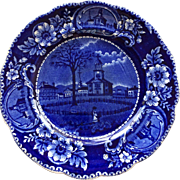 """19th C Clews Flow Blue 8 3/4"""" Plate A Winter View Of Pittsfield, Mass"""