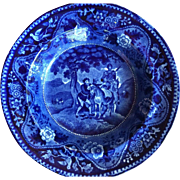 Antique Flow Blue Staffordshire Don Quixote Plate The Meeting of Sancho & Dapple